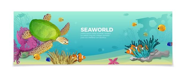海の世界の水中生物自然自然の美しさのテンプレート。