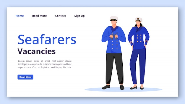 Seafarers vacancies landing page  template. maritime occupation website interface idea with  illustrations. cruise staff homepage layout. job search web , webpage cartoon concept