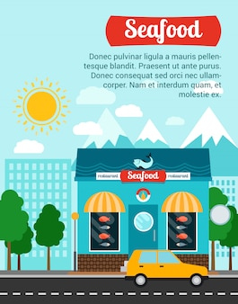 Seafood advertising banner template with shop building