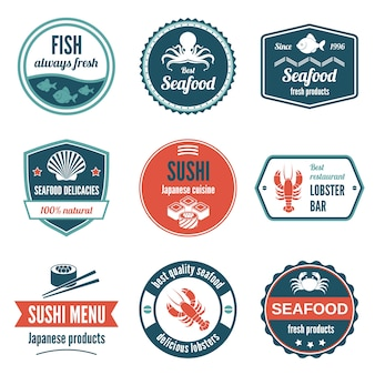 Seafood always fresh fish products delicacies sushi japanese cuisine lobster bar icons set isolated vector illustration.