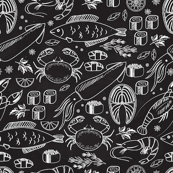 Морепродукты и рыба на доске бесшовные фоновый узор на черном с белыми линиями рисунков рыбы, кальмаров, омаров, крабов, суши, креветок, креветок, мидий, стейка из лосося и трав
