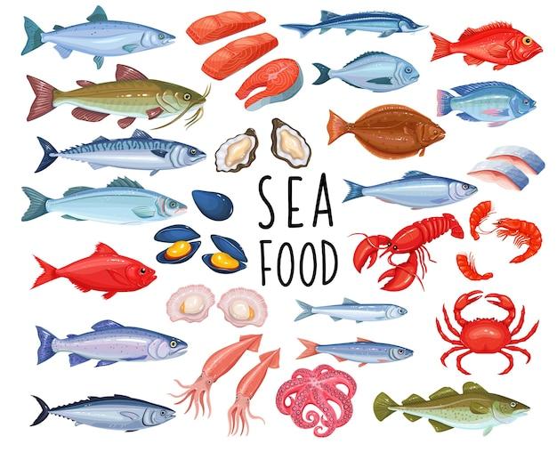 シーフードと魚のアイコン。ロブスター、イカ、タコ、ムール貝、魚サーモン、エビ、ホタテ。マグロ、コチョウザメ、オヒョウ。軟体動物、牡蠣、イワシ、アンチョビ、スズキ、ニシンのシーフード。