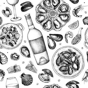 シーフードとワインのイラストのシームレスなパターン。手描きの貝-ムール貝、カキ、エビ、キャビア、魚のスケッチ。レシピ、メニュー、配達、包装に最適です。地中海料理の背景