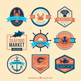 Seafood badges Premium Vector