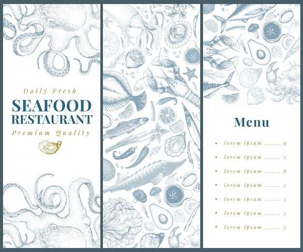 Seafood banner vector template set.