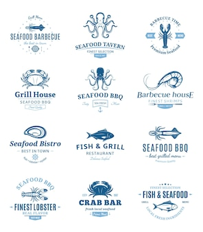 Seafood barbecue emblems set