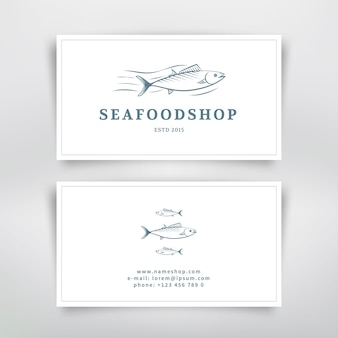 Seafood business card design with fish. vector template