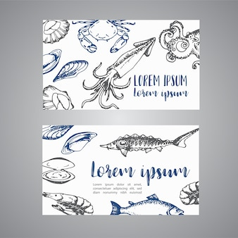 Seafood cards vector template set