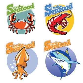 Seafood cartoon badge set