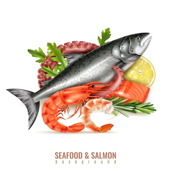 Composizione realistica degli ingredienti nel cocktail dei frutti di mare con le erbe fresche del limone di tentacolo del polipo dei gamberi del pesce di color salmone