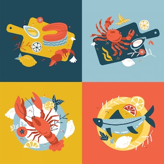 Seafood collection. set of hand-drawn isolated concepts. flat cartoon illustrations in scandinavian style. fish on a wooden cutting board and plate. oysters, crab salmon and lobster. top view.