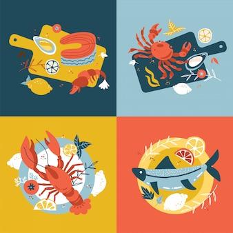 シーフードコレクション。手描きの孤立した概念のセットです。北欧風のフラット漫画イラスト。木製のまな板とプレートを魚します。カキ、カニサーモン、ロブスター。上面図。