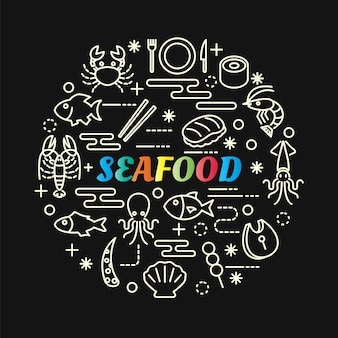 Seafood colorful gradient with line icons set