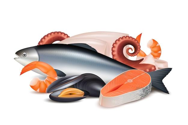 シーフード。さまざまな新鮮なタンパク質食品魚タコ軟体動物ロブスターベクトルの現実的な写真の構成。イラストタコとロブスター、新鮮なシーフード