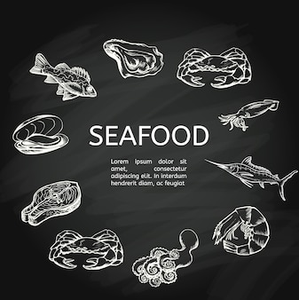 Seafood concept on chalkboard