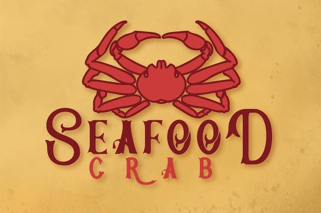 Дизайн логотипа краба из морепродуктов