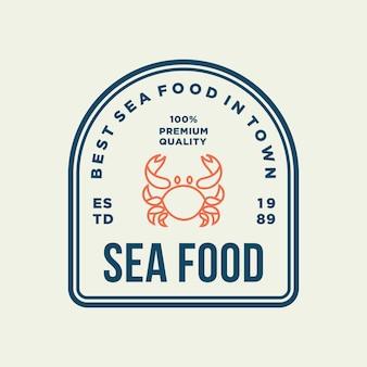 Seafood crab for restaurant line logo design