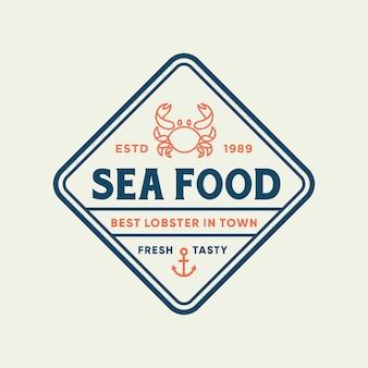 Seafood crab for restaurant line logo design.