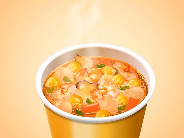 Лапша в чашке с морепродуктами, лапша быстрого приготовления, вид на возвышении для привлекательных ингредиентов