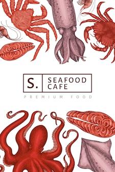 Seafood design. hand drawn seafood illustration. engraved style food, retro sea animals background