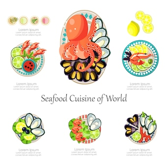 Seafood design set. infographic food business seafood  idea