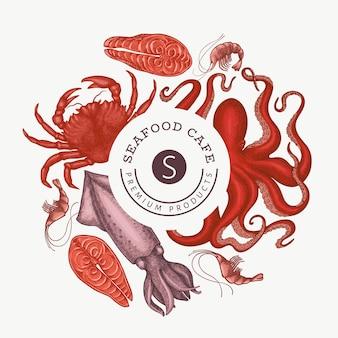 シーフードデザインテンプレート。刻まれたスタイルの食品バナー。レトロな海の動物の背景