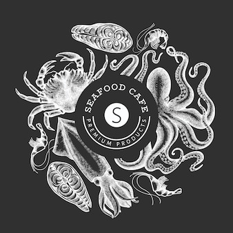 Seafood design template. hand drawn  seafood illustration on chalk board. engraved style food . retro sea animals background