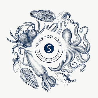 Seafood design template. hand drawn   seafood illustration. engraved style food banner. retro sea animals background