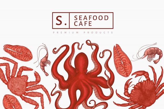シーフードデザインテンプレート。手描きのシーフードイラスト。刻まれたスタイルの食品バナー。レトロな海の動物の背景