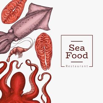 シーフードのデザインテンプレートです。手描きのシーフードイラスト。刻まれたスタイルの食品バナー。レトロな海の動物の背景