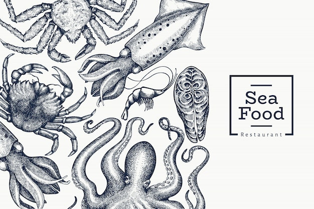 Seafood design template. hand drawn  seafood illustration. engraved style food . retro sea animals background