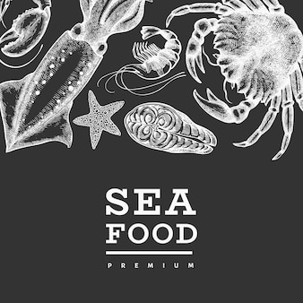 Seafood design template. hand drawn vector seafood illustration on chalk board.