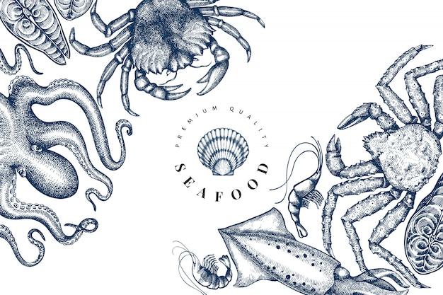 シーフードのデザインテンプレートです。手描きベクトルシーフードイラスト。刻まれたスタイルの食品バナー。レトロな海の動物の背景