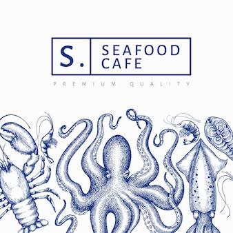 Seafood design template. hand drawn vector seafood illustration.