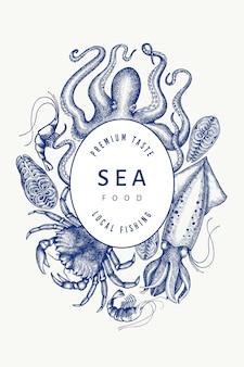 Шаблон дизайна морепродуктов. нарисованная рукой иллюстрация морепродуктов вектора.