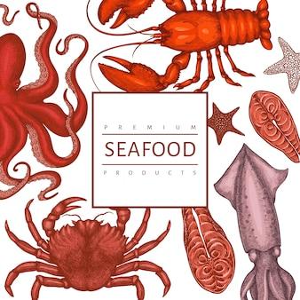 Шаблон оформления морепродуктов