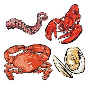 해산물 저녁 식사 그림.