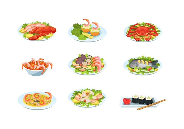 Seafood dishes plates set. traditional asian food cuisine with sushi, lobster, salmon, shrimp soup