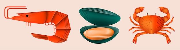 Элемент морепродуктов из креветок, мидий и крабов