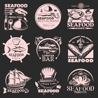 Seafood emblem set on dark with headlines fresh seafood fresh fish highest quality
