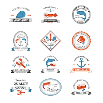 Seafood emblems colored