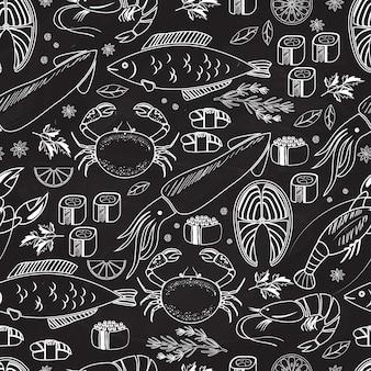 Frutti di mare e pesce lavagna seamless pattern di sfondo su nero con disegni a tratteggio bianco di pesce calamari aragosta granchio sushi gamberetti gamberetti cozze salmone bistecca ed erbe aromatiche