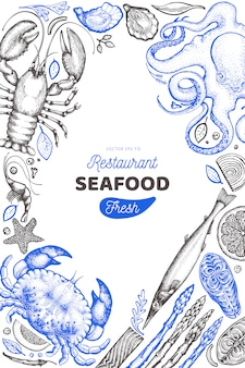 Seafood and fish design template.