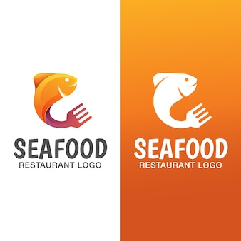 Seafood fish gradient logo with flat version. seafood restaurant logo template