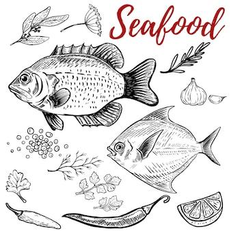 シーフード。スパイスと魚のイラスト。ポスター、メニューの要素。図