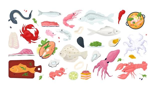 シーフード魚メニューレストランアイコンセット海の食べ物、カニ、エビ、シェルlイラスト。貝、タコ、イカ、カキ、サーモンのスライス。グルメシーフードミールマーケット。
