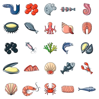 Seafood fish ocean icons set