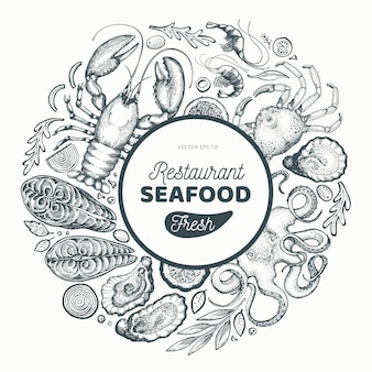 Seafood and fish for a restaurant in a circle