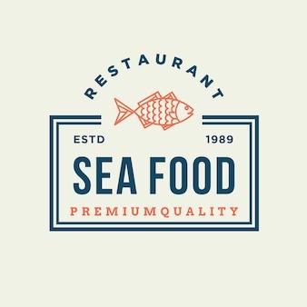 Seafood fish for restaurant line logo design