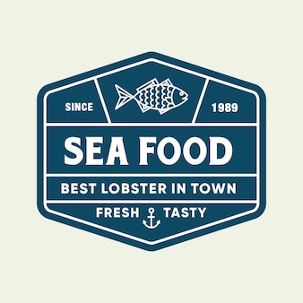 Seafood fish for restaurant line logo design